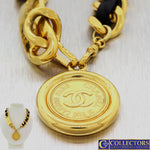 CHANEL 31 Rue Cambon Paris Medallion Belt Gold Plated Leather Belt Necklace 36""