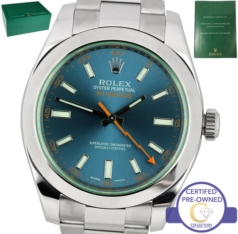2017 MINT Rolex Milgauss Z-Blue Green Anniversary 40mm 116400 GV Stainless Watch