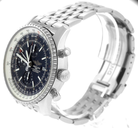 MINT Breitling Navitimer World GMT Stainless Black 46mm Chronograph Watch A24322
