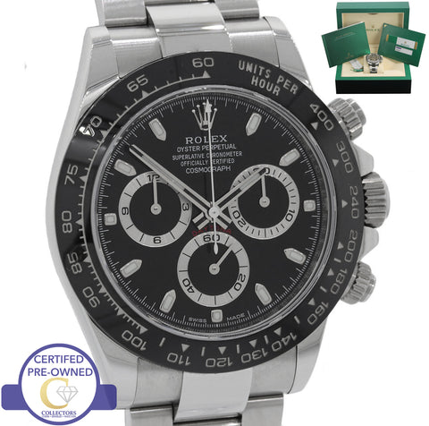 MAY 2018 Rolex Daytona Cosmograph 116500 LN Black Chronograph Stainless Watch
