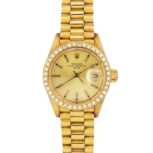 Rolex DateJust President 6917 DIAMOND BEZEL 18K Yellow Gold 26mm Watch 69178