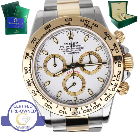 2017 Rolex Daytona 116503 White 18K Yellow Gold Stainless Two Tone 40mm Watch