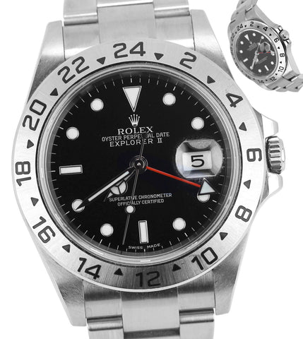 2005 MINT Rolex Explorer II No Holes 16570 T F Black Red Date GMT 40mm Stainless