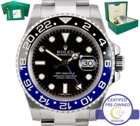 2015 Rolex GMT Master II Batman Stainless Blue Black Ceramic 116710 BLNR Watch