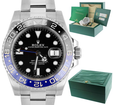MINT 2014 Rolex GMT Master II Batman Blue Black Ceramic 116710 BLNR Date Watch