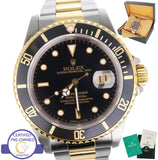 MINT 1997 Rolex Submariner 16613 Two-Tone Stainless Black Date Dive 40mm Watch
