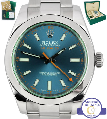 2016 MINT Rolex Milgauss Z-Blue Green Anniversary 40mm 116400 GV Stainless Watch