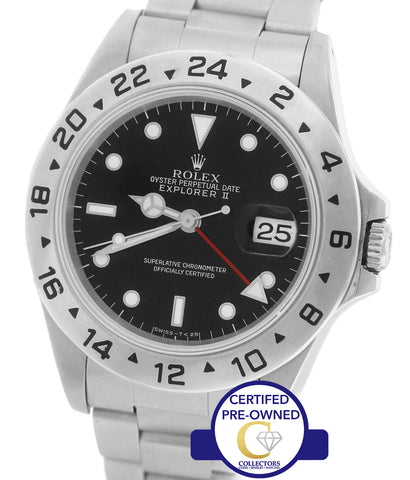 1993 Rolex Explorer II 16570 Automatic Black Stainless Date GMT 40mm Watch