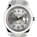 MINT 2017 Rolex DateJust II 41mm 116334 Gray Arabic Fluted Steel Oyster Watch