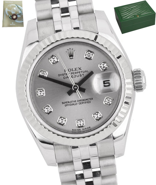 2010 Ladies Rolex DateJust 26mm 179174 Diamond Rhodium Steel Silver Date Watch