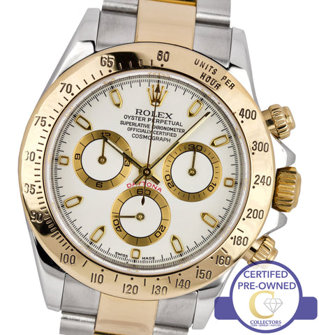 MINT 2005 Rolex Daytona Cosmograph 116523 Stainless Gold White Chronograph 40mm
