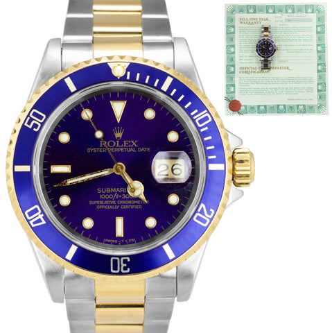 Rolex Submariner PURPLE 16613 X Blue Two Tone Steel 40mm Dive Date Watch PAPERS
