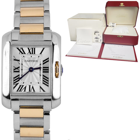 Cartier Tank Anglaise Rose Gold Two-Tone Quartz 30mm Watch 3485 / W5310036 B+P