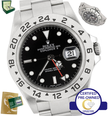 2008 Engraved Rolex Explorer II No Holes SEL 16570 Black Red Date GMT 40mm