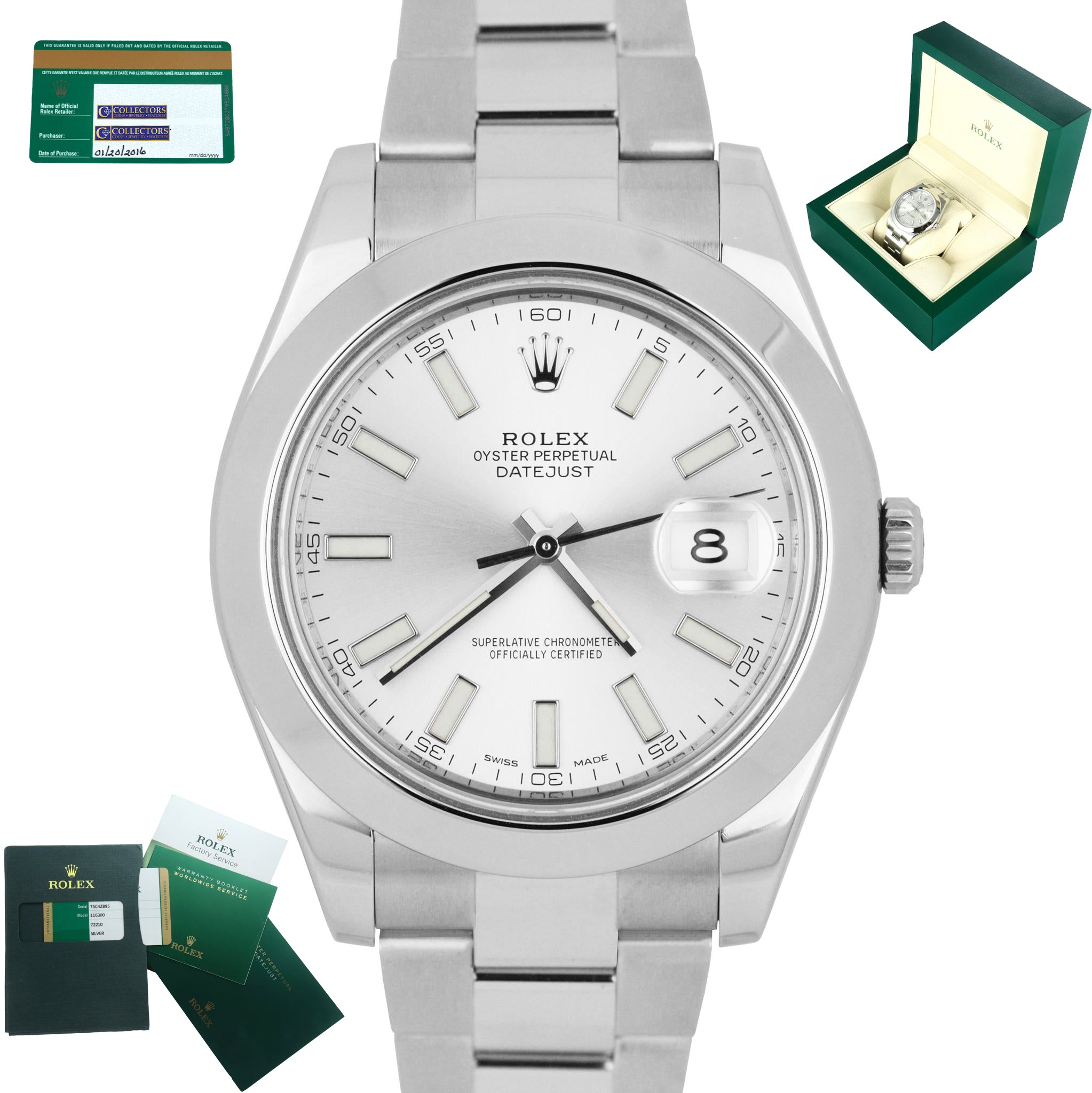 MINT 2016 Rolex DateJust II 41mm 116300 Silver Smooth Stainless Oyster Watch
