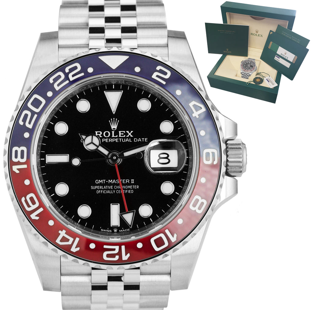 APRIL 2019 MINT Rolex GMT Master II PEPSI Red Blue Ceramic 126710 BLRO Watch B+P