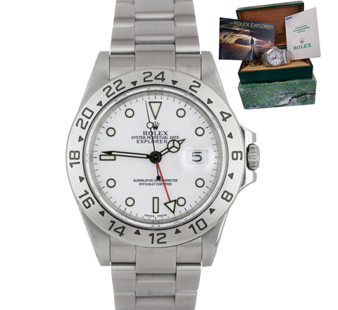 2000 Rolex Explorer II Polar White P Stainless Steel 40mm GMT SEL 16570 Watch