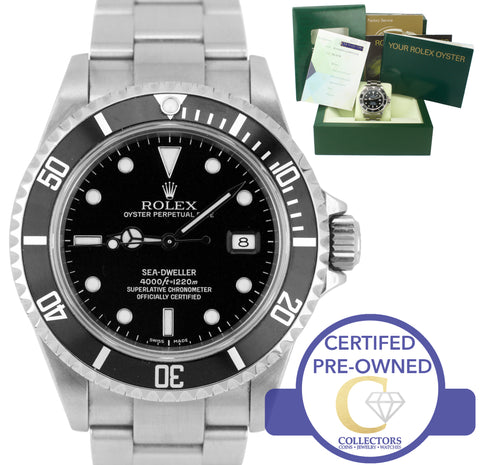 2007 Rolex Sea-Dweller 16600 'No Holes' Stainless 40mm Black Date Dive Watch SEL
