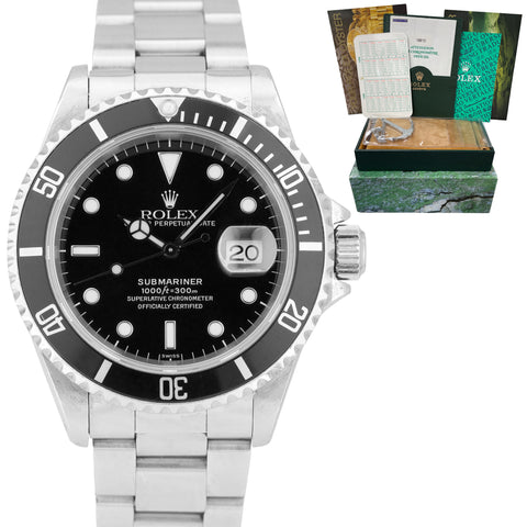 1998 SWISS ONLY Rolex Submariner Date 16610 40mm Black Stainless Dive Watch