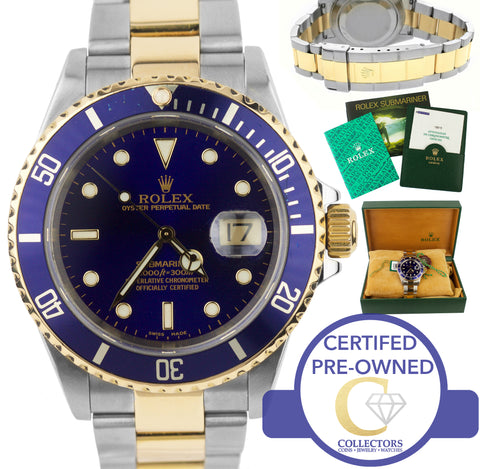 2001 Rolex Submariner 16613 P Two-Tone Stainless Blue Date Dive 40mm Watch SEL