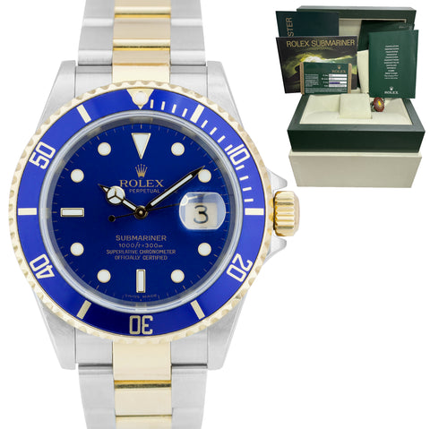 2007 Rolex Submariner 16613 Two-Tone Steel Gold Buckle Blue 40mm NO-HOLES Watch
