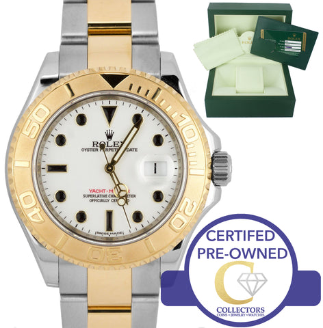2010 Rolex Yacht-Master ENGRAVED REHAUT 16623 White 40mm 18K Two Tone Gold Watch