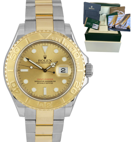 2011 REHAUT Rolex Yacht-Master Two-Tone Gold Steel Champagne 40mm Watch 16623