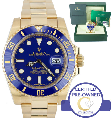 MINT Rolex Submariner Date 116618 Ceramic 18K Yellow Gold Blue 40mm Dive Watch