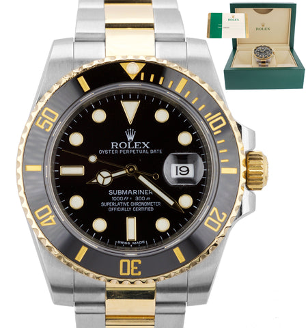 2015 Men's Rolex Submariner Ceramic 116613 LB Two-Tone Gold Black Dive Watch