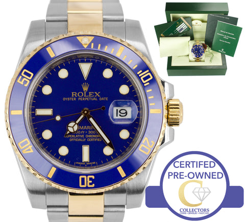 2013 Men's Rolex Submariner Ceramic 116613 LB Two-Tone Gold Blue Dive Watch