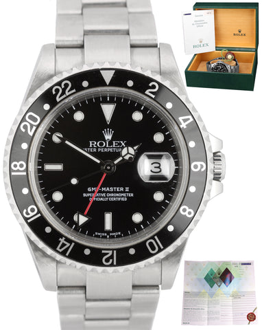 Rolex GMT-Master II UNPOLISHED BOX PAPERS Black NO HOLES F 16710 Oyster Watch