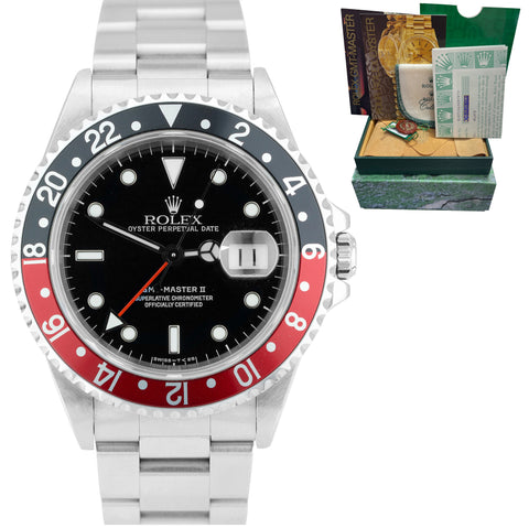 1998 UNPOLISHED Rolex GMT-Master II TRITINOVA 40mm 16710 COKE RED BLACK Watch