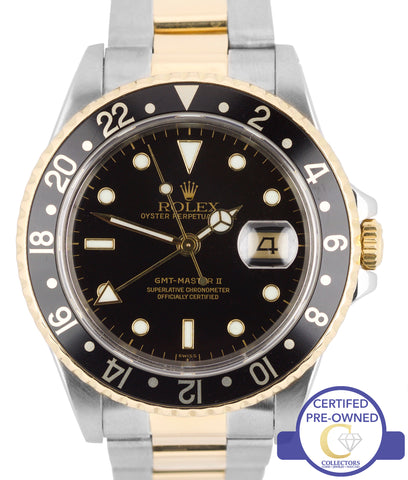 1993 Rolex GMT-Master II 16713 Two-Tone Stainless Oyster Black Date 40mm Watch