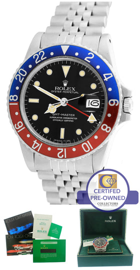 1984 Rolex GMT-Master II Pepsi Blue Red Stainless 16750 40mm Date Jubilee Watch