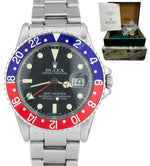 COMPLETE Vintage 1982 Rolex GMT-Master 16750 Pepsi Red Blue Patina CREAMY Watch