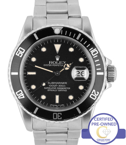 Vintage 1984 Rolex Submariner Date Patina 16800 Stainless Steel Black 40mm Watch
