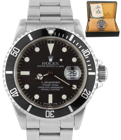 Vintage 1984 Rolex Submariner Date 16800 MATTE 40mm Black Stainless Steel Watch