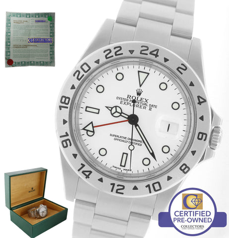 1999 Rolex Explorer II 16570 Stainless Polar White Swiss Date GMT 40mm SEL Watch