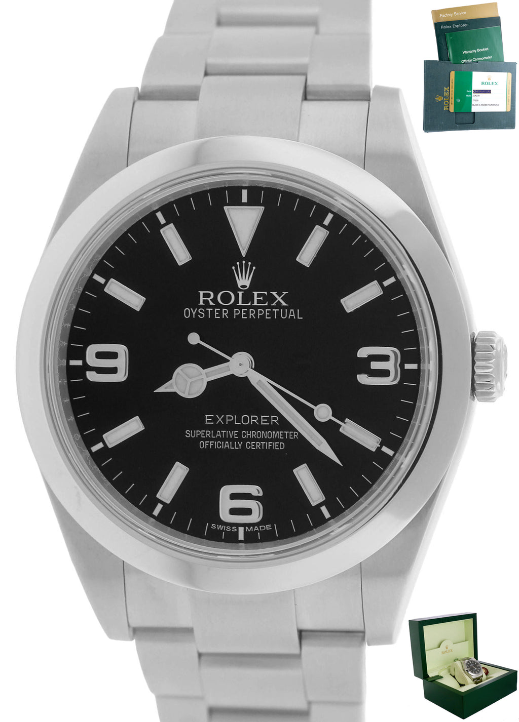 2014 Mint Men's Rolex Explorer I Black 39mm 214270 Stainless Steel Oyster Watch