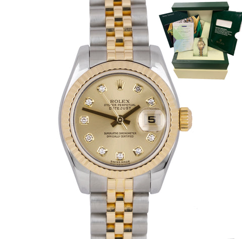 Ladies Rolex DateJust 179173 Diamond No Holes Two-Tone Jubilee 26mm Watch