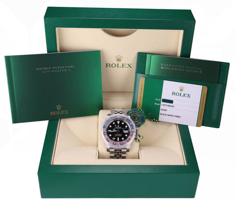 NEW Rolex GMT Master II PEPSI Red Blue Ceramic Steel 126710 BLRO Watch