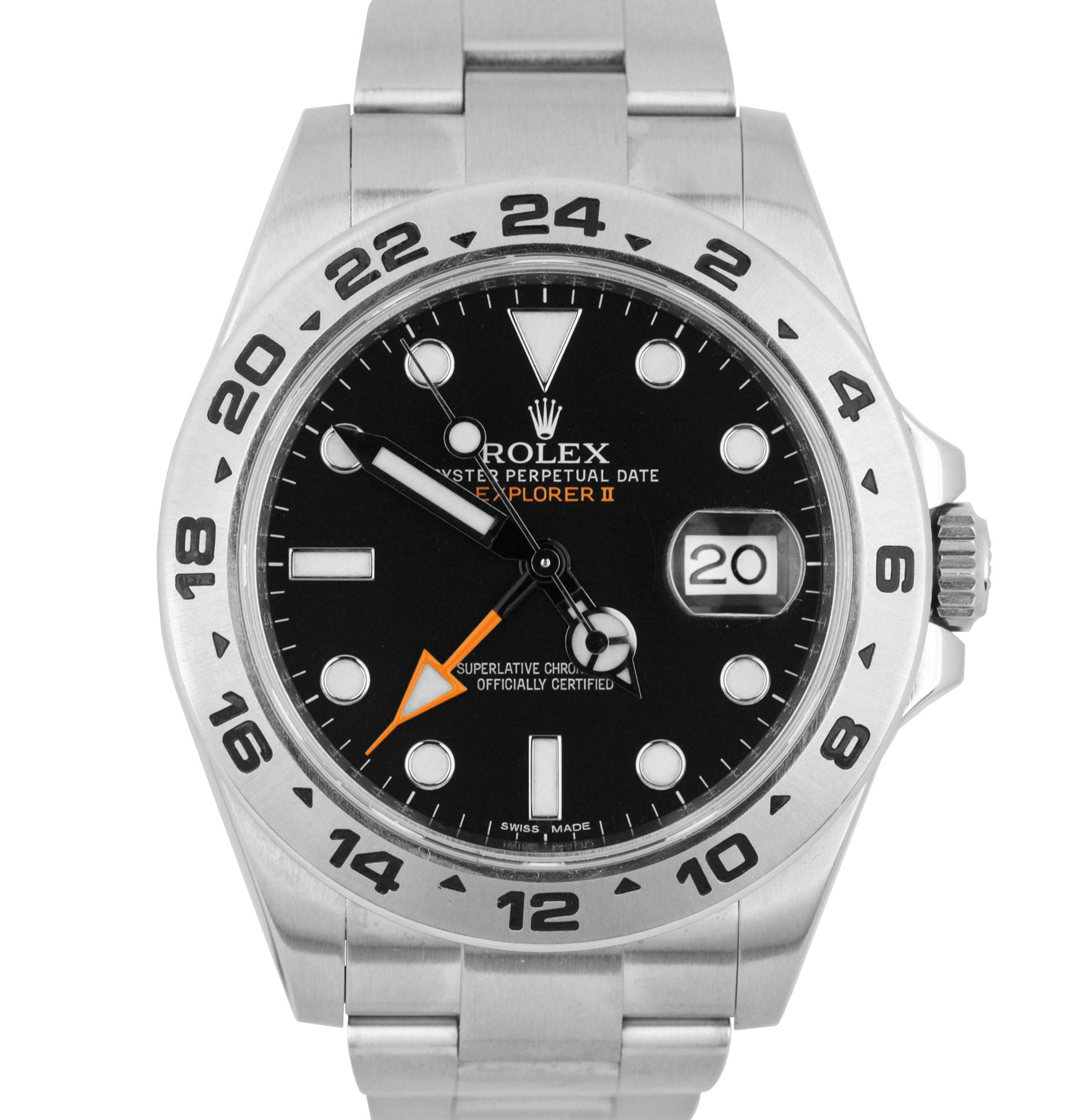 2016 FULL SET Rolex Explorer II 42mm 216570 Black Orange Steel GMT Date Watch