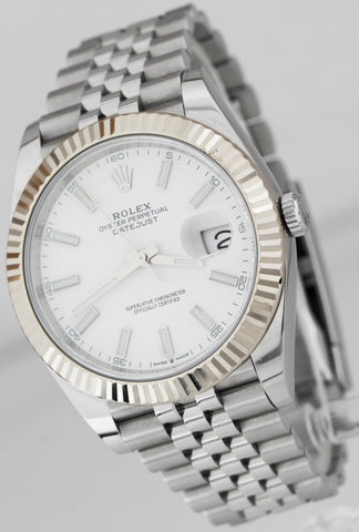 2019 Rolex DateJust 41mm White Index Fluted Stainless Steel Jubilee Watch 126334