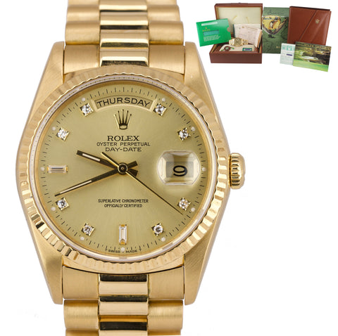 1990 Factory Diamond Rolex Day-Date President 36mm 18K Yellow Gold Watch 18238