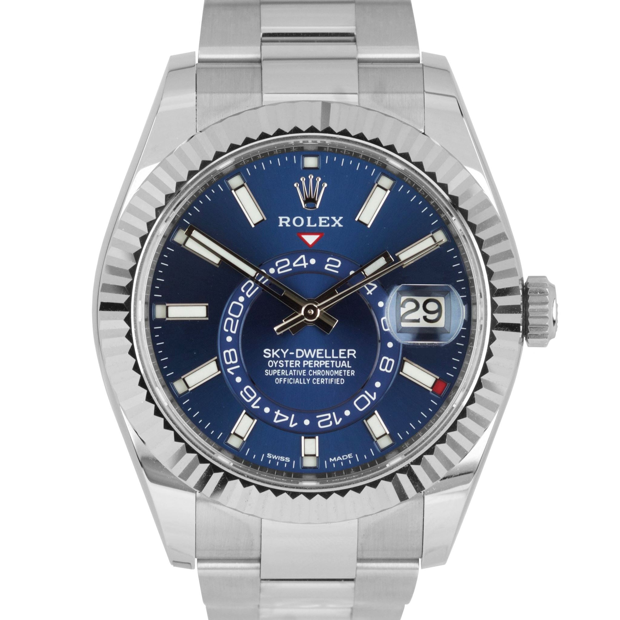 NEW Rolex Sky-Dweller Stainless White Gold BLUE DIAL 42mm Watch 326934