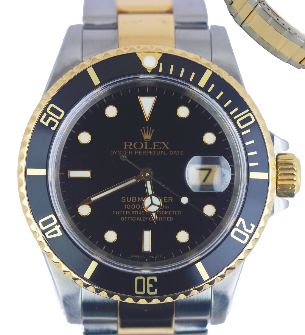 Mint 2001 Rolex Submariner Date Two-Tone 18K Gold Stainless Black 16613 SEL