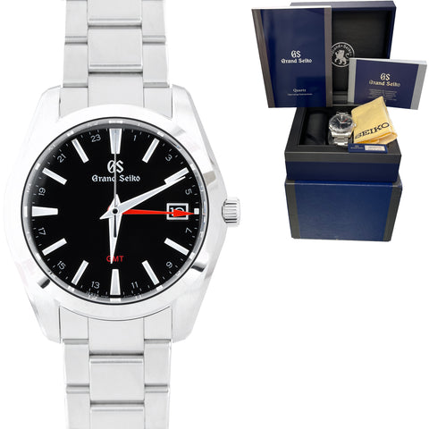 BRAND NEW Grand Seiko GS 40mm GMT Stainless Quartz SBGN013 Watch