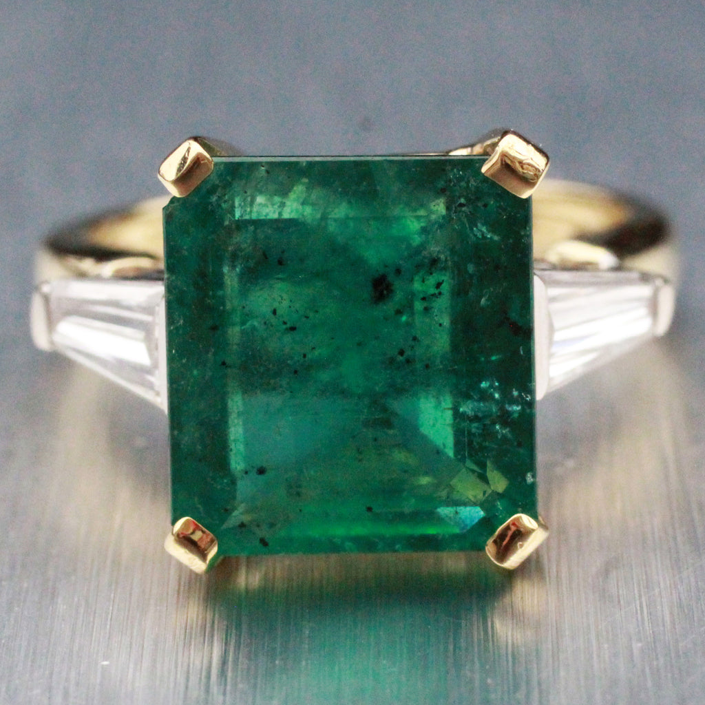EGL Vintage Estate 18k Yellow Gold 5.12ct Natural Emerald Engagement Ring