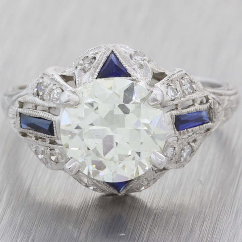 1930 Antique Art Deco Platinum 2.11ct Diamond Sapphire Engagement Ring EGL A8 PL