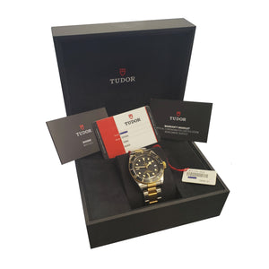 MINT 2019 Tudor Black Bay Heritage Two-Tone Stainless Black 41mm Watch 79733N